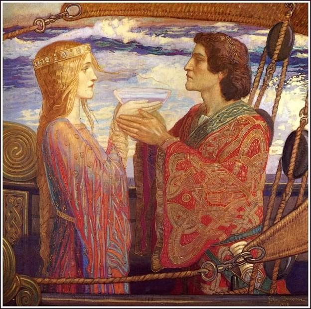 800px-John_Duncan_-_Tristan_and_Isolde, Tristan & Isolde, toile de John Duncan, 1912.